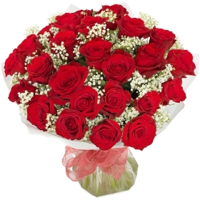 24 luxury red roses.